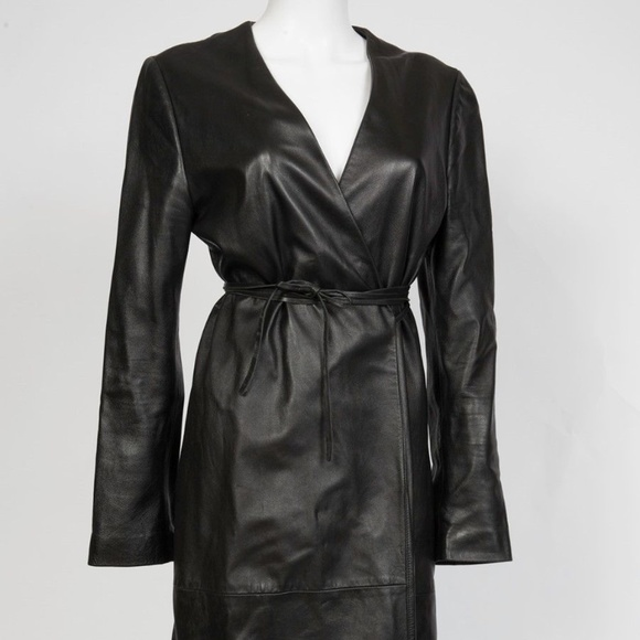 751d10334 Trussardi Leather Trench Coat Ankle Length